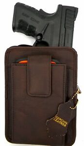 Brown Genuine Leather Pistol Pack Belt Holster Concealed Carry Case Style CCW