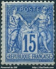 FRANCE TYPE SAGE N° 90a BLEU SUR BLEU NEUF * AVEC CHARNIERE COTE 675€ SIGNÉ BRUN