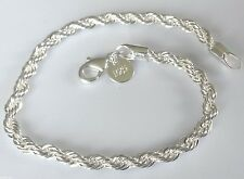 SB 14 Silver bracelet 20cm x 5mm twisted rope chain 925 stamped Plum UK BOX