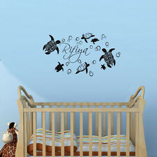 Sea Turtles Customized Any Name Wall Sticker For Bedroom Animal Decal Home Decor