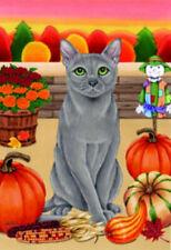 Autumn (Tp) Garden Flag - Russian Blue Cat 620061