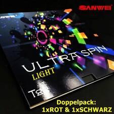 Sanwei Tischtennisbelag Doppelpack T88-IULTRASPIN LIGHT 1x rot und 1x schwarz