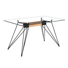 Mesa de comedor moderna mesa de diseño patas metálicas y Cristal templado, Rods