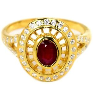 GENUINE BLOOD RED RUBY OVAL & WHITE CZ STERLING 925 SILVER RING SIZE 6.75
