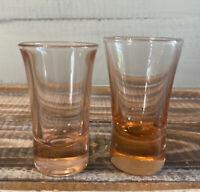 Set of 2 Vintage Pink Depression Shot Glasses Fluted