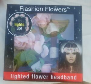 Flashion Flowers Lighted Roses Headband It Lights Up! battery included new