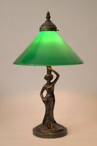 "Tolle unikate Jugendstil Tischleuchte Messinglampe ""GREEN HAT DANCER"""
