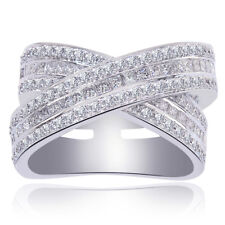 2.00 Carat Princess & Round Cut Diamond Criss Cross Anniversary Ring 18K White G