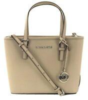 Michael Kors Tote Bag Cement Grey Small Handbag Saffiano Leather Jet Set Travel