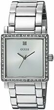 GUESS Women's U0914L1 Dressy Silver-Tone Watch with White Dial , Crystal-Accente