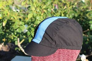 CYCLING CAP ONE SIZE HANDMADE IN USA COLOR BLACK BLUE SKY 100% COTTON