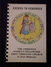 Recipes to Remember, Christian Women's Fellowship Cookbook, St. Paul MN