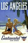 """Vintage Illustrated Travel Poster CANVAS PRINT Los Angeles Continental 24""""X18"""""""