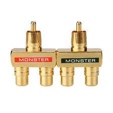 2pcs Gold Plated AV Audio Splitter Plug RCA Adapter 1 Male to 2 Female