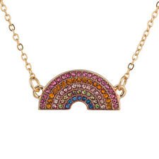 Lux Accessories Gold Tone Rainbow Shape Colorful Faux Rhinestone Chain Necklaces