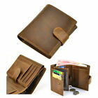 Men Retro Genuine Leather Trifold Wallet Snap Zip Coin Credit Card Holder Purse