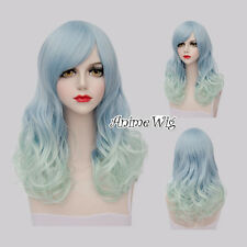 Lolita Light Blue Mix Green Long 60CM Curly Fashion Women Cosplay Wig + Wig Cap