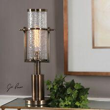 URBAN MID CENTURY MODERN AGED BRASS METAL & GLASS HURRICANE ACCENT TABLE LAMP