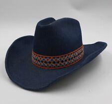 Ya Retro Blue Denim Cowboy Hat Size Medium 7-7 1/8 Western Chevron Band Young An