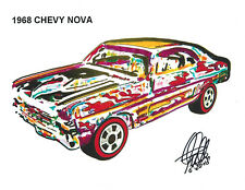 Hot Wheels 1968 Chevy Nova Redline Car Racing Print Poster Wall Art 8.5x11