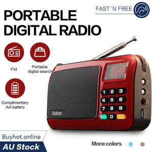 Rolton Portable LED Digital Radio Pocket FM Multiband Receiver Speaker TF USB AU