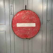 Antique vintage French red metal No Entry Stop sign dated 1958