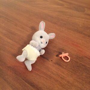 Vintage Calico Critters Flocked Grey Bunny Rabbit Sylvanian Family 1985 Baby
