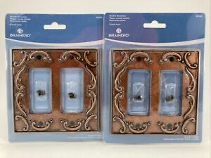 BRAINERD French Lace DOUBLE DECORATOR Wall Plate Copper 405504 LOT OF 2