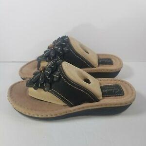 CLARKS Womens Size 7.5 M Artisan Black Leather Flower Sandals 85540