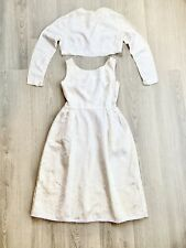 VTG 50's? 60's Women's Dress Jacket Mary Panos Ivory Cream S / XS Floral Wedding