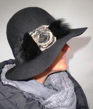 Damen Hut schwarz elegant Wollhut Pelzapplikation Damenhüte Anlasshüte Winter