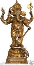 "Master Large Ganesha Warrior Stand Statue 32.2""Brass Hindu Jai God Figure 28.4KG"