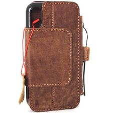 genuine leather Case for apple iphone X wallet handmade Rustic cover detachable