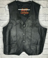 Hot Leathers Mens Motorcycle Leather Vest California and MC Patches Size XL