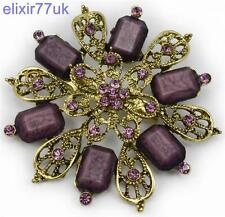 "2.5"" LARGE GOLD FLOWER VINTAGE PURPLE BROOCH VIOLET RHINESTONE CRYSTAL BROACH UK"