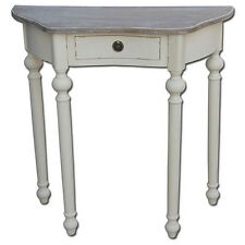 FRENCH COUNTRY HALF MOON HALL DRESSING TABLE SHABBY CHIC VINTAGE ANTIQUE CREAM