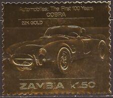 Zambia - 1986 Cobra Automobile - 22K Gold Leaf Stamp - 26A-031