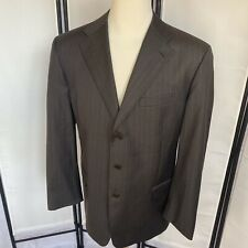 Facconable Mens 44R Wool Blazer Gray Pinstripe Sport Coat Lined Double Vent