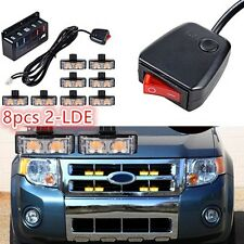 Voiture Grille stroboscope Flash Light AVERTISSEMENT DANGER Emergency Beacon ambre 8 pcs 2LED