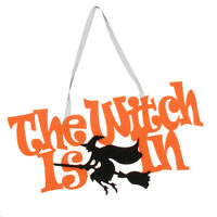 The Witch Is In Hanging Nonwoven Sign Halloween Signs Hanging Decorations