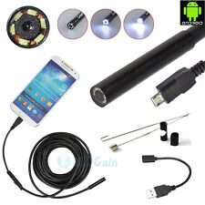 5M 7mm Android Endoscope Waterproof Borescope Inspection Camera 6LED New US Ship