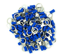 100 Pack Blue 16-14 Gauge AWG Car Power Wire Ring Terminal Connectors 3/8""