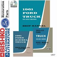 OEM Shop Manual CD Ford Truck 100-800 Includes 1962-1963 Supplement 1961-1963