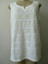 HARTS OF PALM WHITE EMBROIDERED SLEEVELESS TOP SIZE L