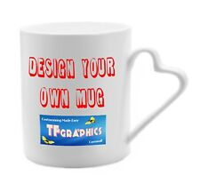 Custom Bone China Heart Handled Mug Printed with your Custom Personalised Design