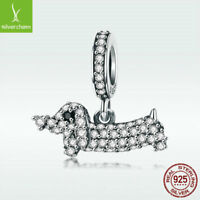 S925 Sterling Silver Charm Bead Dachshund Dog Pendant With CZ For Women Bracelet