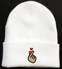 Korean KPOP Love Finger Heart embroidered Beanie Cap Hat White