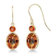 2.86 Ct Oval Ecstasy Mystic Topaz Orange Sapphire 14K Yellow Gold Earrings