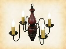 """4 CANDLE COLONIAL """"ABIGAIL"""" CHANDELIER - """"RED RUB"""" WOOD Candelabra Light USA"""