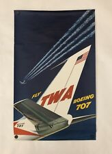 """Original Vintage Poster FLY TWA - BOEING 707 Airline Travel 25"""" x 40"""" 1950s MCM"""